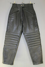 JTS BLACK LEATHER BIKER TROUSERS SIZE 12 - WAIST 26 INCHES/INSIDE LEG 26 INCHES