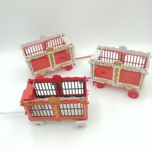 RARE Vintage 1950's Revell Circus Animal Train Wagons - Lot of 3 - White and Red