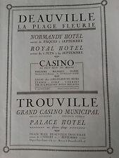 Publicité 1924 advertising deauville Trouville Hotel Normandy Casino Palace