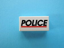 Lego 2 x Fliese 3069bpx29  weiß 1x2  bedr. POLICE 1786 6348 6598