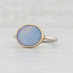 New Nina Nguyen Blue Opal Ring Size 7 Sterling Silver 22k Gold Vermeil