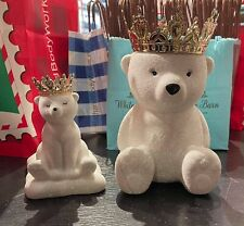 Bath & Body Works Candle Holder GLITTER POLAR BEAR w/ gold crown Collectable