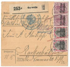 1. Weltkrieg, Deutsche Besetzung Polen, Paketkarte aus Garwolin, Warschau