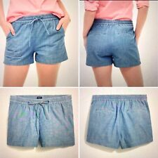 NWT J. Crew Factory Chambray Pull-on Shorts X-LARGE XL Cotton Pockets Blue