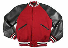 Vtg BUTWIN Wool Leather Red Black Varsity College Letterman Jacket 38 Lawrence