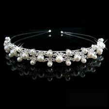 Party Bridal Bridesmaid Flower Girl Double Faux Pearl Crown Headband Tiara B4M7