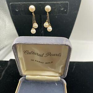 Vintage Estate 14k Yellow Gold Pearl Screw Back Dangle Earrings 1960s Jewelry