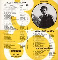 JIM CROCE ORIGINAL 1973 BAD, BAD LEROY BROWN WFIL TOP 30 / FLYER / HANDBILL