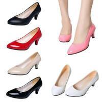 Women's Low Mid Kitten Heels Slip On Court Shoes Ladies Pumps Party Shoes SG