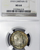 1910 MS64 Great Britain Silver Shilling 1s, NGC Graded, Deeply Toned