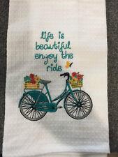Life is Beatiful Enjoy the ride Bar/ Kitchen Towel with Bike