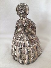 "Vintage Victorian Or Edwardian Dressed Lady Plated Brass Bell 4.5"" Collectible"