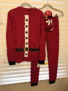Unisex Santa Pajamas Size M Sleep PJ Set Socks Christmas Petite Lem New Xmas