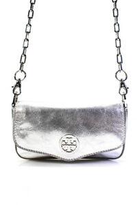 Tory Burch Womens Metallic Small Shoulder Handbag Silver