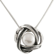 "Fancy sterling silver pendant/18"" chain and white freshwater pearls."
