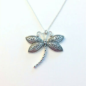 10pcs Large Dragonfly Necklace, Dragon Fly Statement Jewelry, Silver Pendant