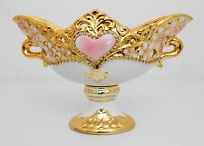 Gold & white pedestal & handle bowl / Gift / Home decorative
