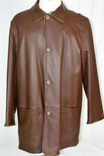 New NWOT $3800 Ermenegildo Zegna Brown Reversible Leather Jacket Coat EU56 XXL