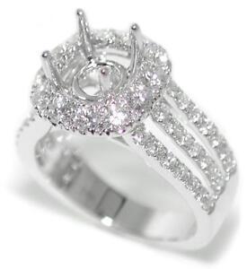 Elegant 1.21 Ct Round Diamond Halo Semi Mount Setting Ring 14K White Gold
