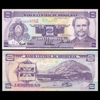 Honduras 2 Lempira Banknote, 1993, P-72b, UNC, North America Paper Money