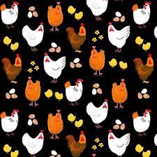 Nursery Baby Fabric - Farm Life Chicken Hen Rooster Black - Henry Glass YARD
