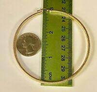 "14k Yellow Gold 3mm x 78mm (3"") Round Shiny Lite Tube Hoop Earrings"