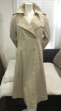 CHIC!❤️ Vintage Burberry Prorsum Double Breasted Trench Coat Khaki Sand Sz 10