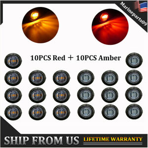 20X Smoked 3/4'' Round Truck Boat Trailer Red/Amber Led Light Side Marker Lights