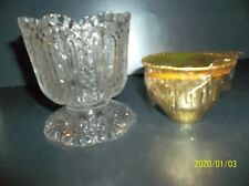 Avon Fostoria Vintage 1973 Glass Candle Holder & Bayberry Perfumed Candle Nib
