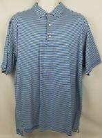 Peter Millar Golf Polo Shirt Short Sleeve Blue Striped Men's Size XL