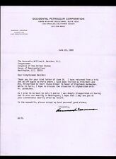 Armand Hammer re Gorbachev 1989 letter signed Occidental Petroleum Letterhead