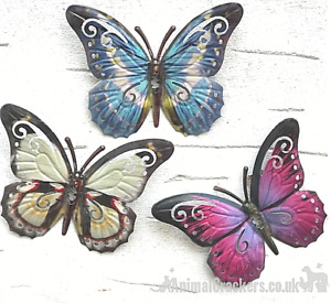 Set 3 16cm pink blue white coloured metal Butterfly garden decoration wall art
