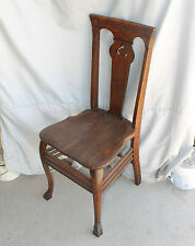 Antique Oak Chair for Vanity or Single Small Desk Chair – claw feet