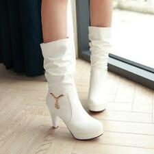 Womens Chic Round Toe Block Heels Rhinestone Metal Pendant Mid Calf Boots Shoes