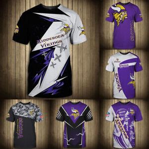 Minnesota Vikings Men Casual T-shirts Soft Top Tee Short Sleeve Sportswear S-5XL