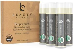Lip Balm Organic Peppermint (4 Pack) - Pure and Natural Mint Beeswax; Lip Butter