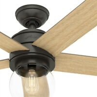 "Hunter Fan 46"" Casual Noble Bronze Ceiling Fan with Light Kit and Remote Control"