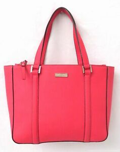 Kate Spade Bright Coral Saffiano Leather Carryall Tote Bag Purse