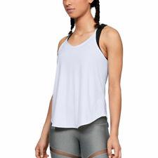 Under Armour UA HeatGear Ladies Free Cut Strappy Tank White Sports Running Vest