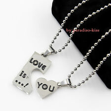 2 Collane in 1 Coppia Collane IN ACCIAO Da Donna Uomo Amore Love is You cod.163