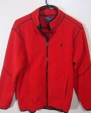 Ralph Lauren POLO Womens Lightweight Fleece Full Zip Red SIZE L 14-16 Black Pony