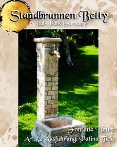 Wasserzapfstelle freistehend Standbrunnen Wassersäule H88cm Art.52 Patina braun