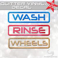 Box Outline Car Detailing Wash, Rinse & Wheels Glitter Vinyl Bucket Stickers Wax