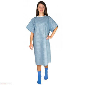 Blue Hospital Patient Gown With Back Ties - One Size Fits All - 1 Pack
