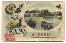 paris  un bonjour de paris ,bateau mouche  pensée ,ile de la cité