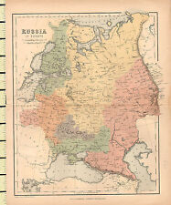 c1880 MAP ~ RUSSIA IN EUROPE ~ POLAND BALTIC