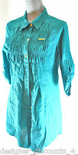 APPLE BOTTOMS TEAL embellished gold button WOVEN TOP long BLOUSE size SZ M