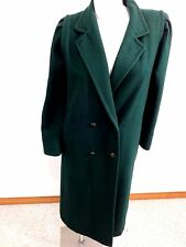 VINTAGE JOFELD DARK GREEN WOOL LONG WINTER COAT DOUBLE BREASTED SIZE S