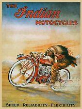 Indian Motorcycles, Retro vintage style metal tin sign gift Home Decor garage
