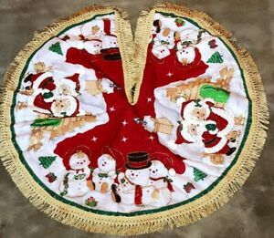 """Christmas Tree Skirt 34"""" Hand-Crafted 3D Brand New"""